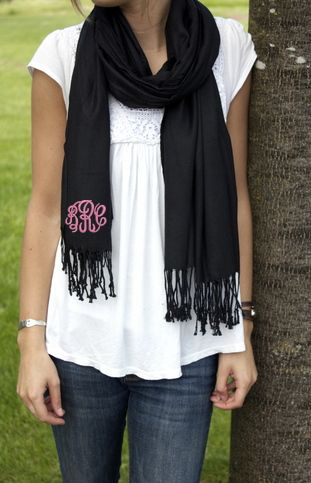 Monogram Pashmina Wrap Scarf