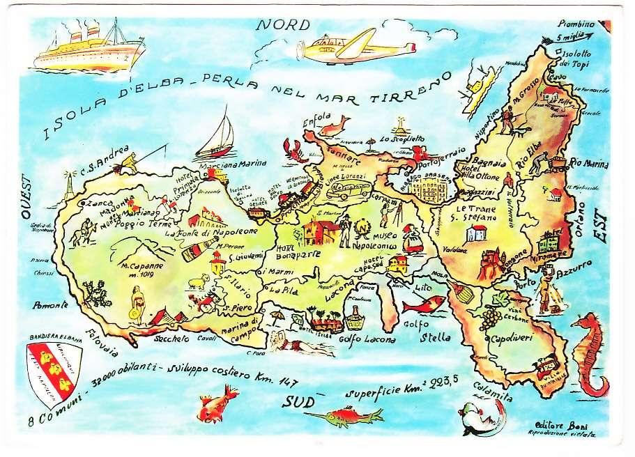 Livorno Cartina Geografica Italia.Isola D Elba Livorno Cartina Geografica Viagg 1959 52226